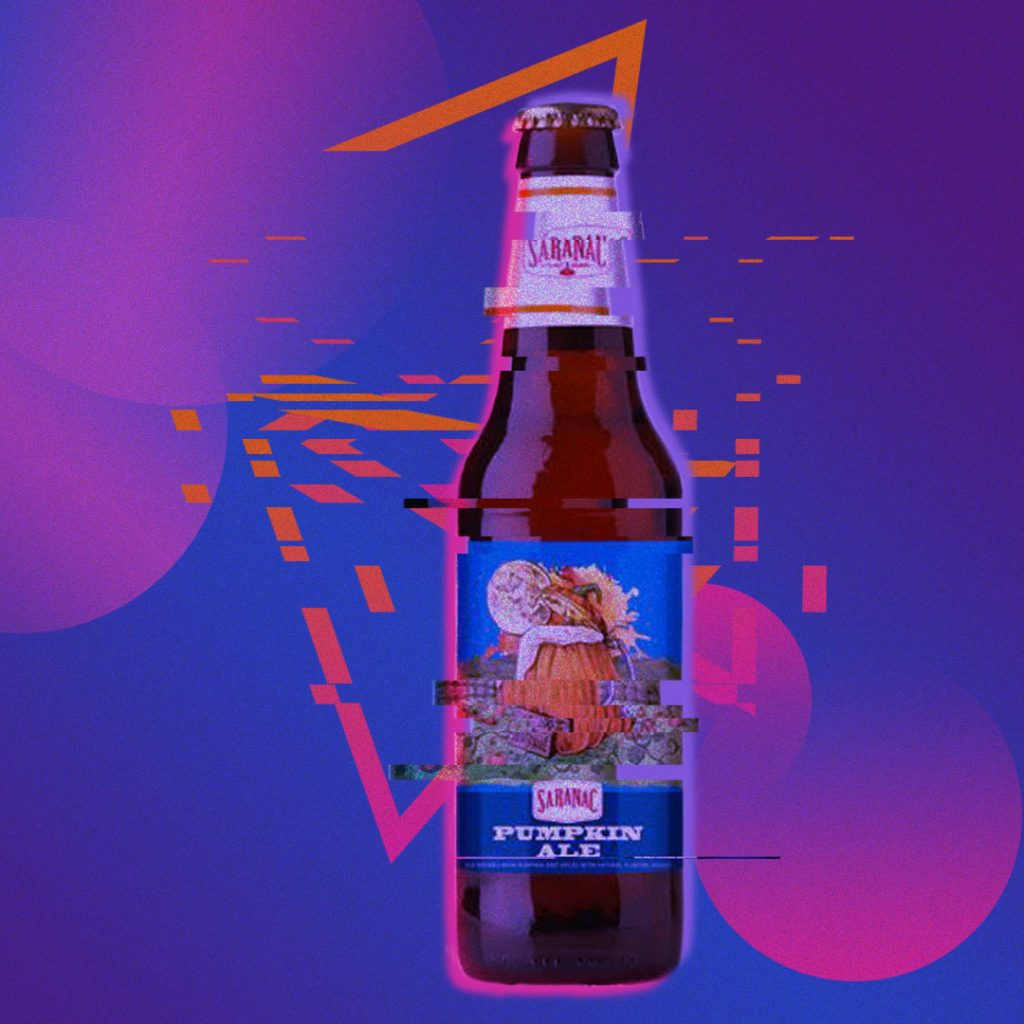 A glitched vaporwave style image of a beer