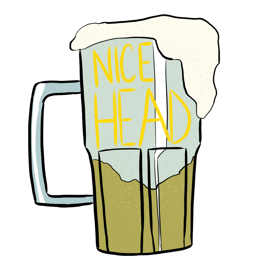 "A glass beer stein with a lot of foam that reads ""nice head"""