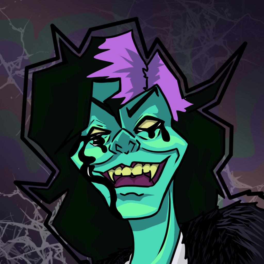 A highly stylized representation of the artist Kim Dracula