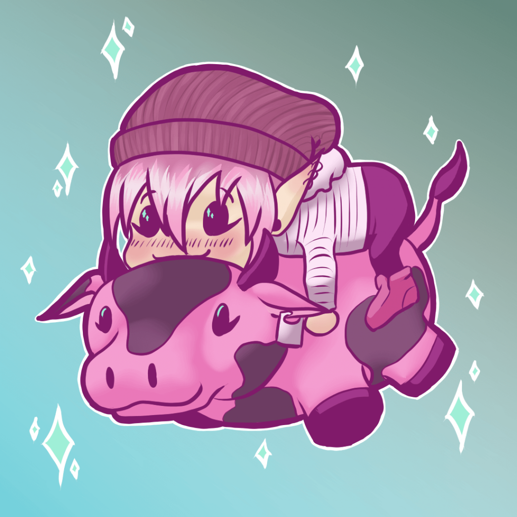 Pink chibi character on a pink cow